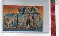 vintage Large Letter Linen Greetings from San Francisco California