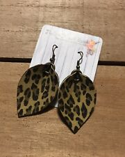 Small Leaf 2� Earrings Genuine Real Leather Leopard Print