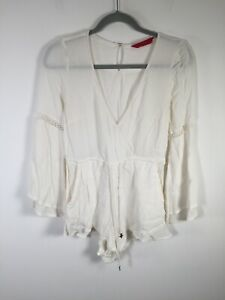 Tigerlily womens ivory white playsuit romper size 6 long sleeve viscose