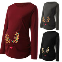 Christmas Women's Print Side Ruched Long Sleeve Maternity Top Pregnancy Clothes