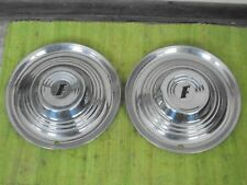 "1951 Ford Accessory Trim Beauty Rings 15""  w/Dog Dish Hubcaps Pair 51"