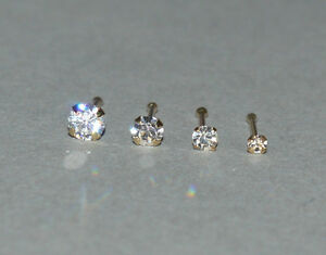 9ct k carat Yellow Gold 1.5, 2, 2.5 or 3  mm Clear Crystal nose bone nose stud