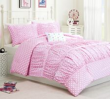 SWEET POLKA DOTS 3pc ** Twin **  COMFORTER SET : GIRLS PINK RUCHED BEDDING