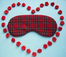 Eye Sleep Mask, Cute Tartan Plaid Cotton Red Scottish Gift. Blackout UK Made