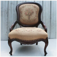 Antique Victorian Style Parlor Chair Carved Mahogany and fabric
