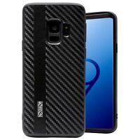 Custodia Carbonio Samsung S9 Cover Case Silicone Spessa Antiurto Rinforzata Nera