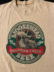Vintage 80s Moosehead Canadian Lager Beer Tan T-Shirt Drinking Pub Bar
