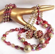 Hobe Set Necklace Earrings Bracelet Red Pink Parure Vintage Jewelry Free Ship US