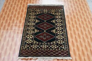 Rugs Antique Hand Knotted Turkish  Faded Green Wool Bokara Living Room 2.6'x4'