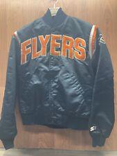 Vintage 1989s Starter Philadelphia Flyers Nylon Satin Bomber Jacket Black Medium