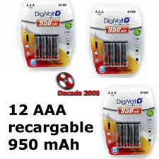 12 Pilas AAA 950 mAh Baterías Recargables 1.2v Bateria NiMh Envío de España 24h