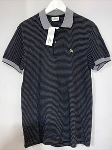 Mens Lacoste Black And White Stripe Polo Shirt Size Medium 3