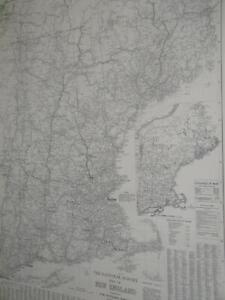 Large National Survey Paper Wall Map New England L. V. Crocker National Survey