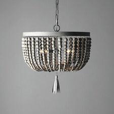 Classic Style Pendant Light Distressed Grey Wood Beaded Decorative Hanging Lamp
