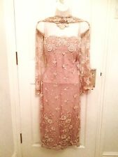 New Phase Eight Taupe Beige Trellis Lace Pencil Cocktail Dress & Shawl Size 10