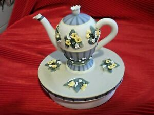 "Debbie Mumm ""Lily Of The Valley Teapot ""  Glass Jar Candle topper"