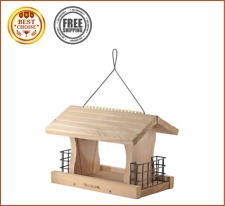 Woodlink Deluxe Cedar Wood Hanging Bird Feeder with Cable & Suet Cages Brown New