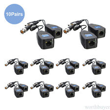 10 Pairs CCTV Coax BNC Connector Video Power Balun Transceiver to CAT5e 6 RJ45
