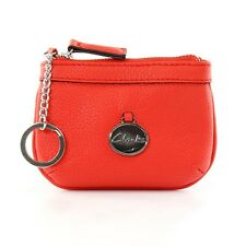 Clarks Shoes Leather Coin Purse/Mini Wallet in color Poppy Red. Silver zipper an