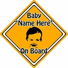 Personalised Baby/Child On Board Car Sign ~ Baby Face Silhouette ~ Neon Orange
