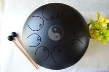 New WuYou 12in Steel Tongue Drum Chakra Handpan Tank Drum Pentatonic drum, Black
