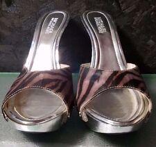 Black Multi Zebra Slide w Studs & Silver Heel by Michael Kors, Size 7.5M, NWB