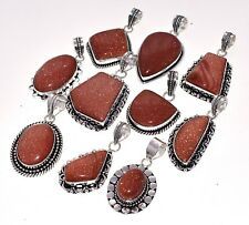 Wholesale !! Lot 20 PCs. GOLDSTONE 925 Sterling Silver Plated Pendant Jewelry