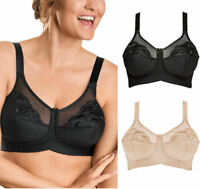 Naturana 86954 Non Wired Soft Cup Non Padded Full Coverage Bra Black Beige