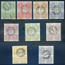 Transvaal reprints 1896-7 set comp. to 2sh6d in used blocks 4 (2019/04/28#14)