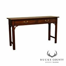 Henkel Harris Chippendale Style Mahogany 2 Drawer Console Table