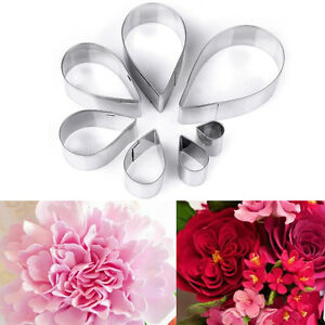 Rose Petals Flower 7 piece Stainless Steel Cookie, Pastry Fondant Cutter Set