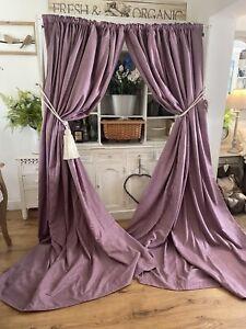"Bespoke Thick Woven Purple Lilac Herringbone Tweed Large Curtains 103""D"
