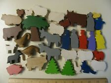 Lot of Wooden Animal Plants People Signs for Playsets Trains