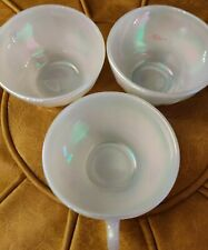 RARE Vintage Fire King Mother of Pearl 🦪Moonglow Set 3 Tea Coffee Cups, Aurora