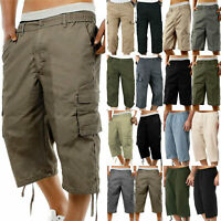 Mens Cropped Capri Shorts Summer Loose Cargo Casual Pants 3/4 Trousers Bottoms/