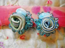 UNIQUE BLUE PLASTIC BEAD & WRAPPED CLAY FLOWER ROSE BUD HUGGIE CLIP-ON EARRINGS