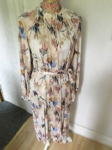Marks And Spencer Per Una Ivory Satin Floral Print Dress UK Size 8 BNWT