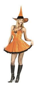 You Spicy Witch Pumpkin Orange Sexy Halloween Party Costume Sz M (MISSING HAT)