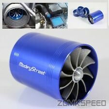 Air Intake Turbonator Supercharger Dual Fan Propeller Turbo Gas Fuel Saver Blue