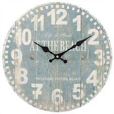 Distressed Look Blue Beach Wall Clock Nautical Homeware Home Decor Shabby Chic