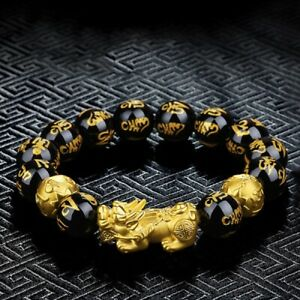 Feng Shui Black Obsidian Beads Attract Wealth & Good Lucky PIXIU Bracelet Bangle