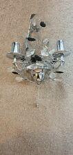 Crystal Effect Candle 2 Arm Wall Sconce Light Polished Chrome with Pull Cord