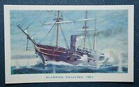 "THE ""ALABAMA""   Confederate Warship  Vintage Colour Card"