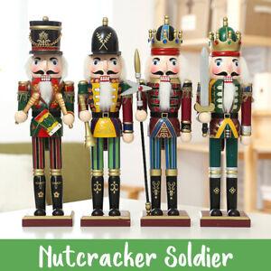 4PCs Set 30cm Wood Nutcracker Soldier Figures Model Christmas Home Ornament  &
