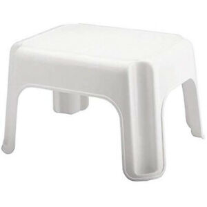 Rubbermaid Durable Roughneck Plastic Family Sturdy Small Step Stool, White