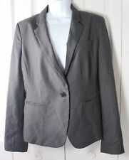 Anne Taylor 10 Charcoal One Button Wool Blend Blazer Jacket NWT MSRP $159.99