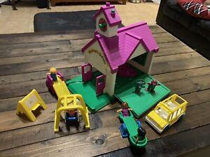 Vintage BARNEY Schoolhouse Playground Play Set Playskool Complete Bell Toys R Us