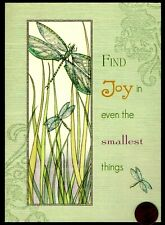 Dragonflies Grass Mystical Find Joy. Glittered - Blank Greeting Note Card - New