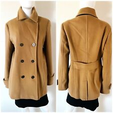LANDS END WOMEN'S PEACOAT JACKET CAMEL BROWN SIZE 16T TALL DOUBLE BREASTED