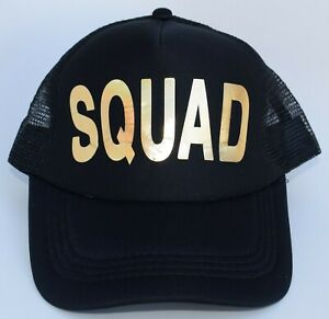 SQUAD Trucker Baseball Cap Hat Adjustable Snapback Mesh Black 5-Panel